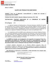 Alerta sanitaria urgente: retirada del mercado de la solución oftálmica Goniovisc